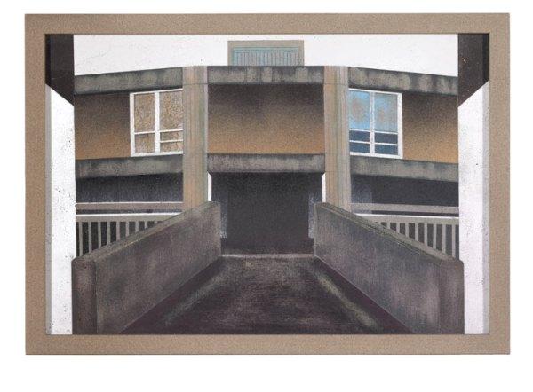 Mandy Payne. BRUTAL. 2013. Aerosol spray on concrete with wooden frame. 32.7 x 46.5 cm
