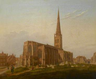 """""""St Michael's Church, Coventry"""" by Edward Rudge. Date painted - c.1824. Oil on canvas. 57.5 x 75.2 cm. Herbert Art Gallery & Museum"""