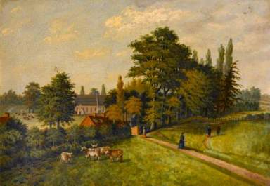 St Nicholas's Church, Radford, Coventry. 1878. Oil on panel, 27.5 x 39 cm. Herbert Art Gallery & Museum
