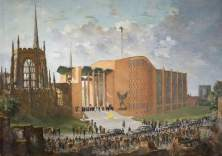 """""""The Consecration of the New Coventry Cathedral"""" by Charles Ernest Cundall. 1962-64. Oil on canvas. 91.5 x 129 cm. Herbert Art Gallery & Museum"""