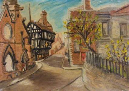 """""""The Ruins of St Michael's Church, the Golden Cross Inn and the Law Courts, Coventry"""" by Beryl Clifton Bowyer. Date painted - 1942-1943. Oil on canvas laid on board. 25 x 35.3 cm. Herbert Art Gallery & Museum"""