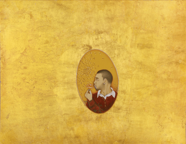 Self-Portrait (2009). Gold leaf and opaque watercolour on wasli paper.