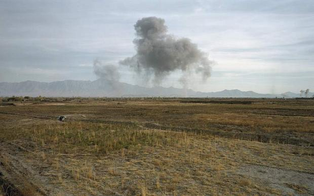 US Bombing on Taliban Positions, 2001. Photo: Luc Delahaye