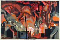 Empire Marketing Board Poster by Clive Arthur Gardiner: A blast furnace, 1927