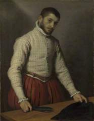 The Tailor ('Il Tagliapanni') by Giovanni Battista Moroni. The National Gallery, London. Date painted: 1565-70. Oil on canvas, 99.5 x 77 cm. Collection: The National Gallery