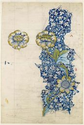 Printed Fabric Design- Kennet. By William Morris. 1883. Accession number: 1941P404. Pencil, watercolour on paper touched with white. Width: 667 mm Height: 1011 mm