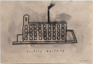 Factory Building, 2012. Mixed media on paper, 15 1/4 x 22 1/4 inches