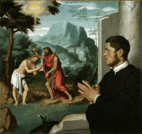 A Gentleman in Adoration Before the Baptism of Christ, c1555-60. Photograph: Gerolamo and Roberta Etro