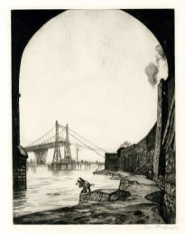 'Runcorn Suspension Bridge,' c. 1913, drypoint, 267 x 215 mm