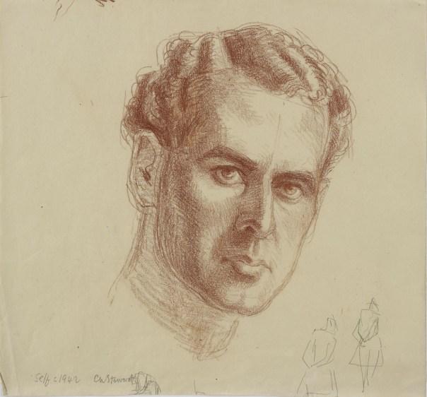 Self-portrait, c. 1942. Chalk on paper.