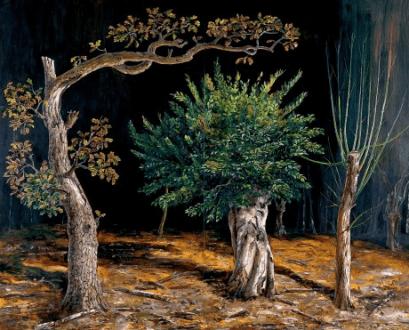 Three Pollards, oil on panel, 2004, Julian Perry