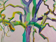 Oak Form, Purple Pink Background, Michelle Dovey, oil on canvas