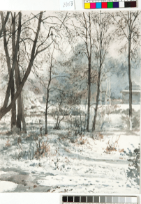 Зимний пейзаж. Москва. 1882, (эскиз для тарелки «Ноябрь») / Winter Landscape, Moscow. 1882. Watercolour on paper, 32 x 24.2 cm