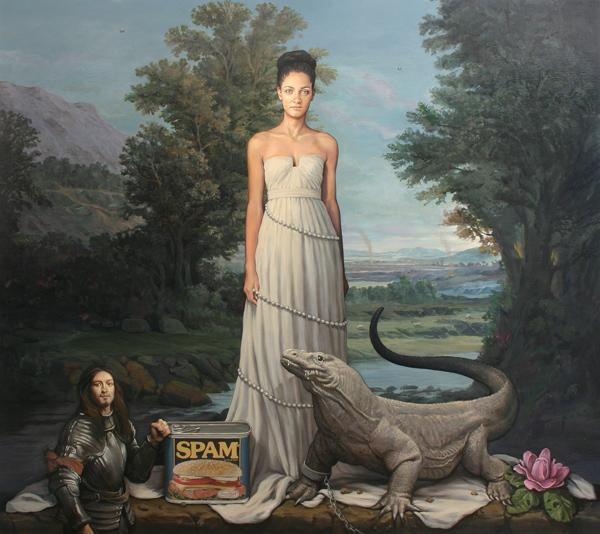Alan Macdonald: Spam Dragon, 2013. Oil on linen, h. 190 x w. 214 cm
