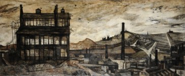 Derrick Greaves: Sheffield, 1953, oil on canvas, 93.6 x 210.5 cm