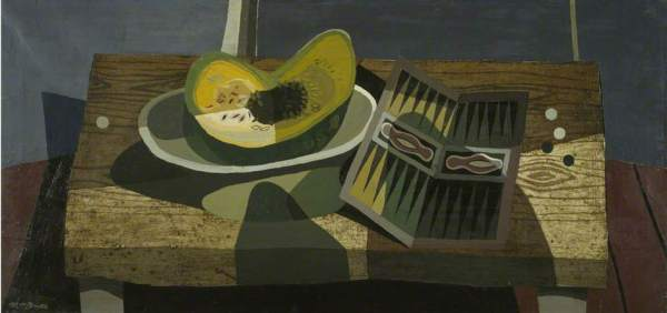 Robert MacBryde: Still Life, c.1947. Oil on canvas, 41.5 x 87 cm. National Galleries of Scotland