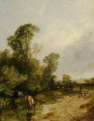 Thomas Creswick: Hillsborough, Sheffield, 19th century, oil on panel, 24.2 x 19.2 cm, Museums Sheffield