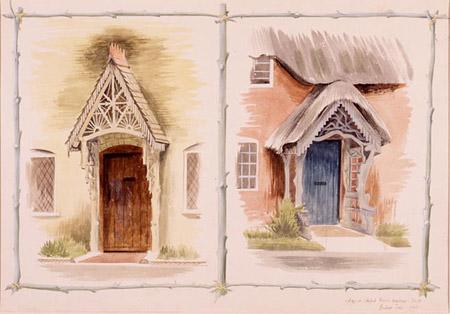 Barbara Jones (1912-1978) Cottages at Canford Magna, Dorset. 1942