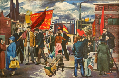 Demonstration in Battersea, 1939 by Clive Branson. Photograph: Collection of Rosa Branson/© The Estate of Clive Branson