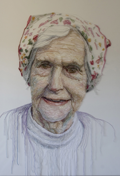 'Mum with Flowerry Headscarf'. H130 x W90cms. Thread sewn into dress netting stretched over canvas