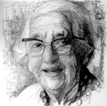 'Grandma with Glasses'. H100 x W100. Thread sewn into dress netting stretched over canvas
