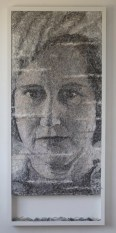 'Mum wearing Grey Hat'. H130 x W90cms. Thread sewn into dress netting stretched over canvas