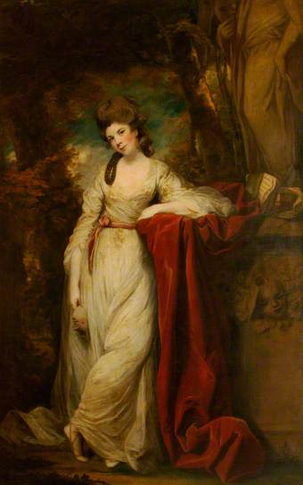 Mrs Abington (c.1737–1815), as the Comic Muse, 1764–1768 & 1772–1773. Oil on canvas, 236 x 147.5 cm. National Trust
