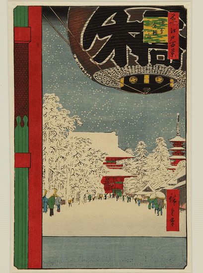 Utagawa Hiroshige No 99. Kinryuzan Temple at Asakusa Woodblock print © Courtesy of the Whitworth, The University of Manchester