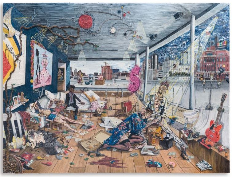 PLATE 6, THE AFTER PARTY. Varnished plasticine on board, 183 by 245cm.; 72 by 96 1/2 in. 2014.