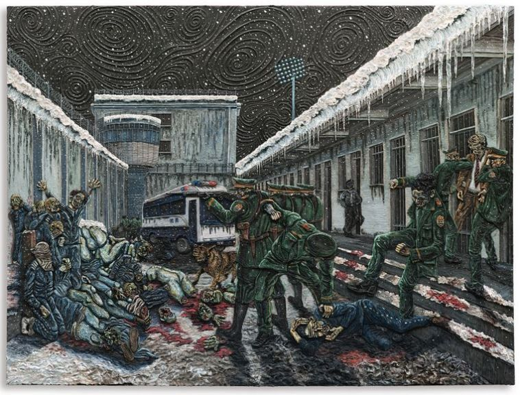 PLATE 10, THE EXECUTION. Varnished plasticine on board, 183 by 245cm.; 72 by 96 1/2 in. 2014.