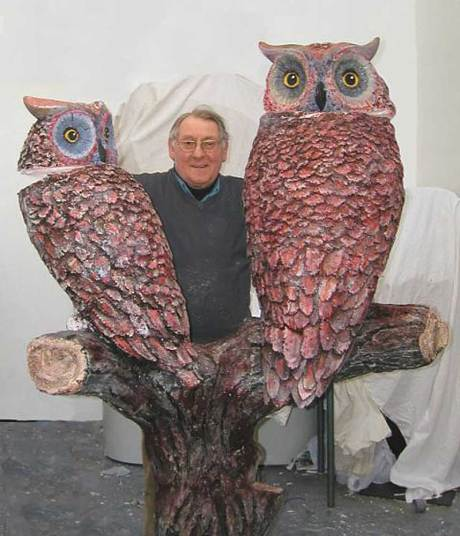 Ivor Adams with one of his owl sculptures