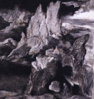 After Patenier I, 1992-3, charcoal and pastel on paper, 69 x 84 cm