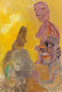 Three figures, yellow sky, Late 1970's. Oil on panel, 80 x 55 cm