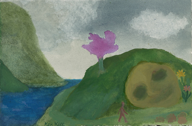 Purple Tree, Mid 1990's, watercolour on paper, 17 x 26 cm