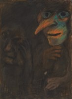 Dark figure, Mid 1970's, pastel on paper, 76.5 x 56 cm