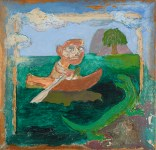 Man, Boat and Lizard, 1972. Mixed media on board, 63 x 65 cm