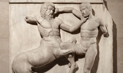 Marble metope from the Parthenon shows the battle between Centaurs and Lapiths at the marriage-feast of Peirithoos (438-432BC)