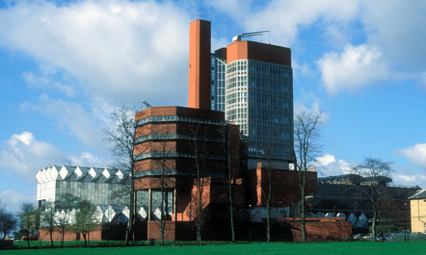 """""""Structural feats and forceful geometries. Stirling and Gowan's Engineering Building represented a shift from the functionalist doctrines of the postwar period."""" Photograph: Alamy"""