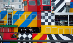 Sir Peter Blake, below left, on board the Snowdrop. Photograph: Christopher Thomond for the Guardian