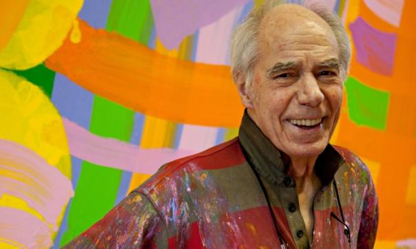 Albert Irvin in his studio in 2010. Photograph: Joe Hage/Gimpel Fils