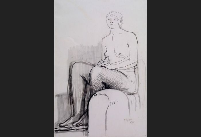 Henry Moore. Seated Nude. 1934. Brush & ink, pen & ink & wash on paper. 55 x 36.5 cm © Henry Moore, by permission of The Henry Moore foundation. Schlee Collection, Southampton