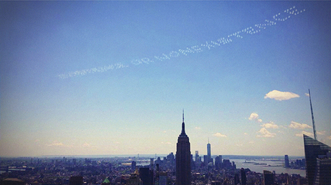 David Birkin, Existence or Nonexistence (2014), skywriting over New York