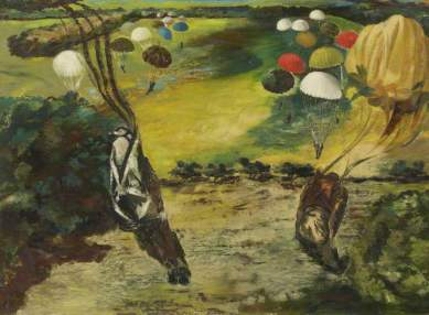 Parachute Jump near Tatton Park, 1943. Oil on hardboard, 61.6 x 84.8 cm. Lakeland Arts Trust