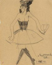 Columbine with Fan and wearing a Tutu, 1908. Black crayon, 31 x 24.3 cm