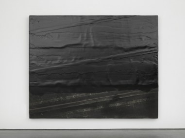 Diagonal bitumen, 2014. Wood, rubber and tar. Photo: Ben Westoby