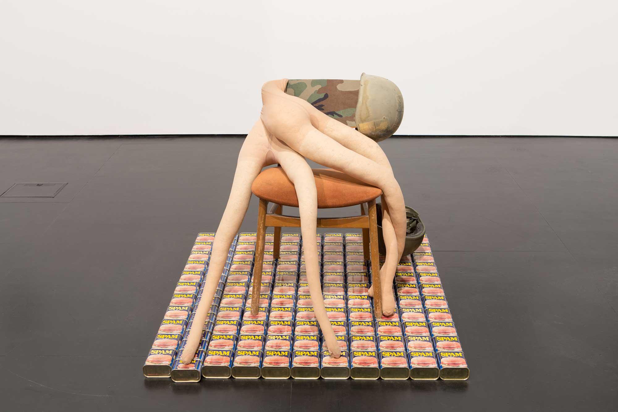 Sarah Lucas, Spamaggedon, 2014, installation view, Zabludowicz Collection: 20 Years, 2015 at Zabludowicz Collection, London. Photo: Tim Bowditch