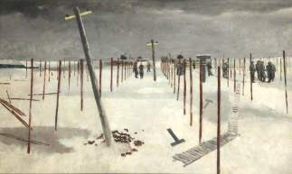 Sappers Erecting Pickets in the Snow, 1941. Oil on panel, 51.4 x 82.5 cm. National Museums Liverpool