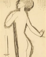 Standing Female Nude in Profile with Lighted Candle, c. 1911
