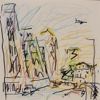 Frank Auerbach, Study for Mornington Crescent, Summer Morning II, 2004, crayon on paper, 31 x 31 cm, © The Artist. Ben Uri Gallery & Museum Collection