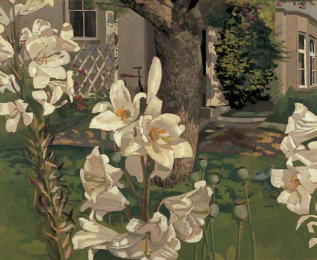 Madonna Lilies, Cookham, Berkshire, c.1935. Oil on wood, 43.2 x 53.2 cm. Leeds Museums and Galleries